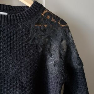 Honey Punch Sweaters - Honey Punch Floral Lace Shoulder Sweater